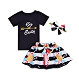 "2 Styles Baby Girls Letters""Big&Little Sister""Printed Tops+Floral Striped Pants+Hat+Headband Outfits Set (Flower-Black, 5-6T)"