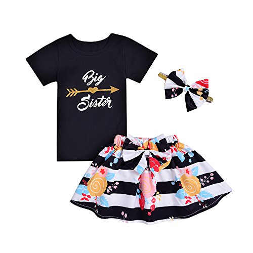 """Pants In Mint Black (2 Styles of Baby Girls Letters""""Big&Little Sister""""Printed Tops+Floral Striped Pants+Hat+Headband Outfits Set (Flower-Black, 3-4T))"""