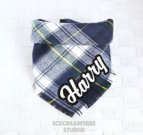 Navy Preppy Plaid Bandana - Tie on Classic Flannel Pet Bandana Scarf, Pet Fashion Scarf, Dog Bandana Scarf, Cat Bandana Scarf by Icecreamtree Studio