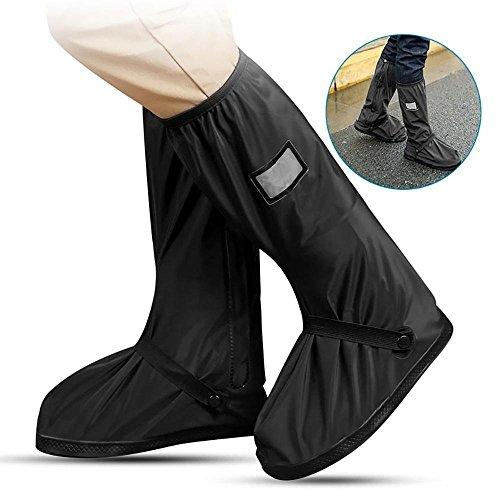 Cubiertas para Zapatos,Resistente y Reutilizable Zapatos Botas de Lluvia Cubiertas de Zapatos al Aire Libre Antideslizantes Reutilizables Ciclismo Cubiertas de Zapatos perfecta para Ciclismo, Senderismo, Camping y Viaje(Negro, L)