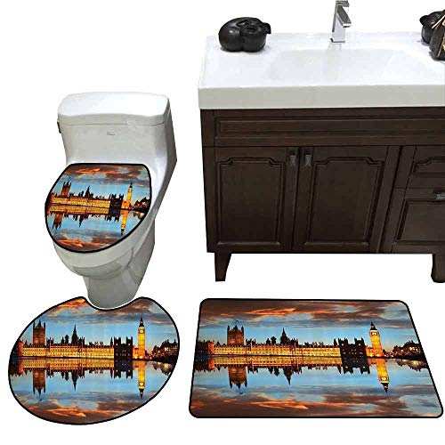 3 Piece Shower Mat Set London Decor Collection Splendent Scene of Big Ben Westminster Palace in a Cloudy Night Reflected to Thames River Picture Pattern Rug Set Gold
