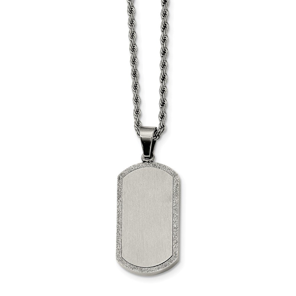 Jay Seiler Stainless Steel Laser Cut Dog Tag Pendant Necklace 22 in, Length