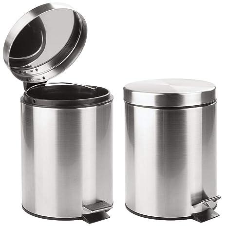mDesign Juego de 2 cubos de basura con pedal – Contenedores de residuos de acero inoxidable con tapa y cubo plástico extraíble – 5 litros – Como ...
