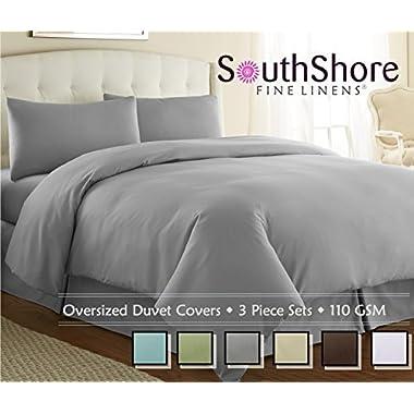 Southshore Fine Linens® - 3 Piece Oversized Duvet Cover Set - STEEL GRAY - King / California King