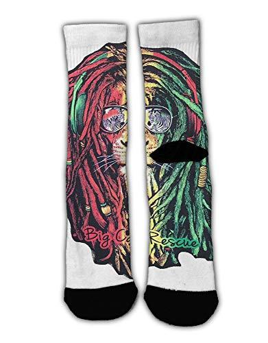 AllCOVER Unisex Dreadlock Rasta Lion Jamaican Reggae Graphic Novelty Stockings Funny Crazy 3D Print Casual Long Crew Tube Socks -