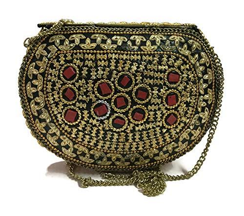 Embrague Bolsas Gannu étnica para eslingas niñas Tile de de Embragues fiesta de nupciales mujeres para Bolso cruzadas Bolsos Bolsas Bolso Green Billetera mosaico étnicos metal para dZZrq