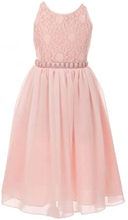 436999d1c9a47 Little Girls Dress – Sleeveless Flower Lace Chiffon Summer Flower Girl  Dress Blush 4 (K64K06
