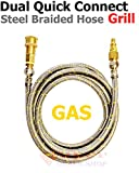 Propane Hose Natural Gas Hose RV Motorhome LP Gas Natural Gas Appliance Propane Extension Hose Quick Connect Disconnect Grill Part 12 ft Stainless Steel Braided Hose 1/4 Super-Deals-Shop For Sale