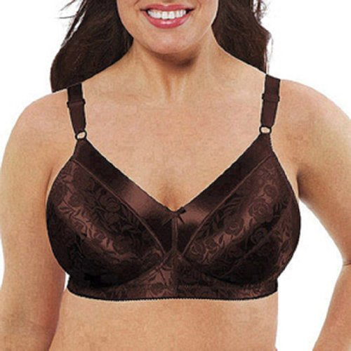 Just My Size Full Figure Satin Comfort Wire-Free Bra Style 1960, Rich Chocolate, 42C