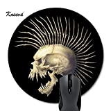 Knseva Punk Rocker Skeleton skull Round Mouse Pad Circular Mousepad Mat