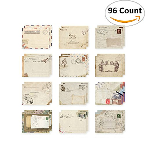 96Pcs Fireboomoon Greeting Card Envelopes, Cute Retro Lovely Vintage Special Mini Envelope for Christmas, Wedding, Birthday Party (12 different disign)