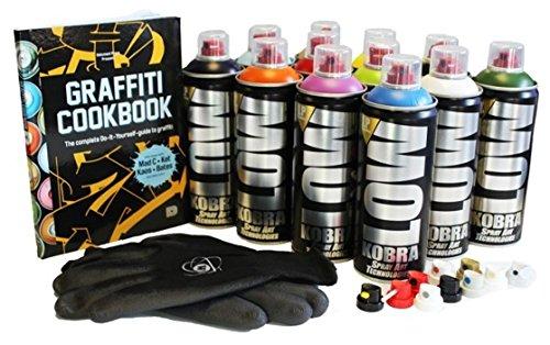 Kobra LP Graffiti Starter Pack - 12 Spray Paint Cans, Tutorial Book,...