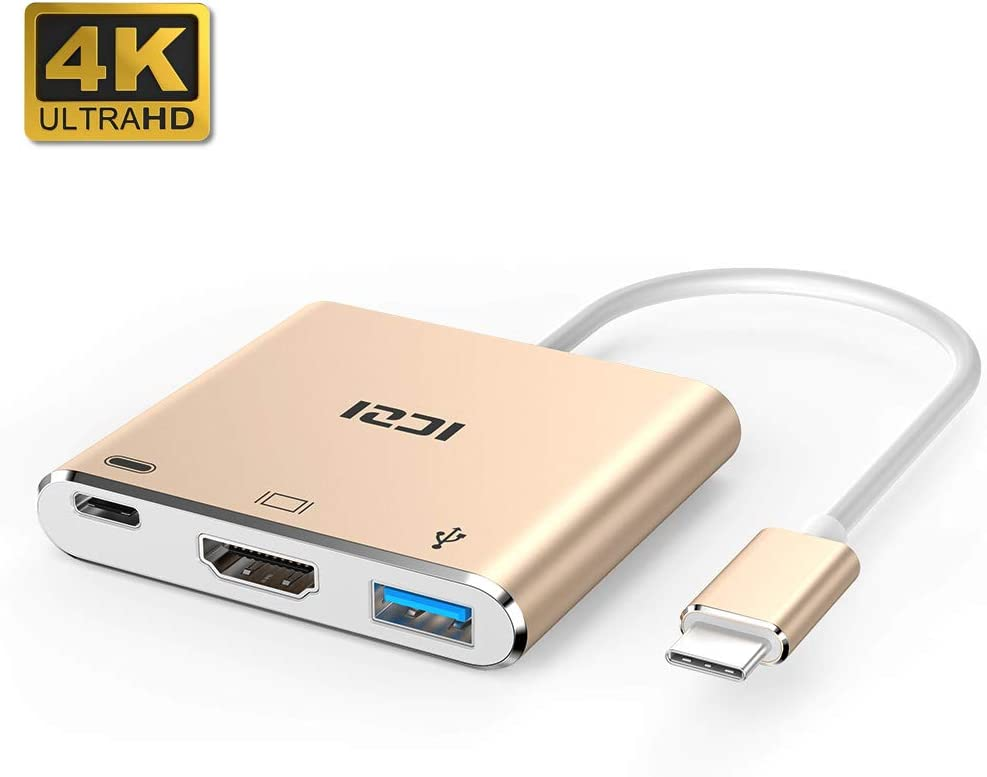 ICZI Adaptador USB Tipo C a HDMI de Aluminio, Adaptador USB C Thunderbolt 3 a HDMI 4K Dex Station USB 3.0 USB-C Power Delivery para Huawei Mate 10 Samsung S10 Macbook Pro, iPad Pro 2018, Rosa