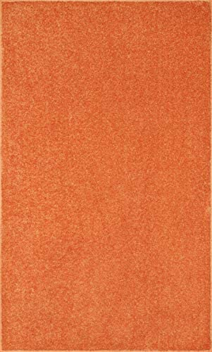 Ambiant Broadway Collection Solid Color Area Rug Orange, 12 x 15
