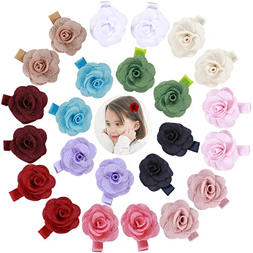 Price comparison product image inSowni 24pcs Alligator Hair Clips Barrettes Accessories Rose Flower for Baby Girl Toddlers (12 Pairs S6)