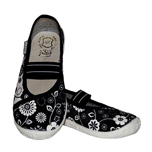 Raweks Mädchen Hausschuhe Ballerinas Textilschuhe Innensohle Leder Blumen Schwarz Weiß