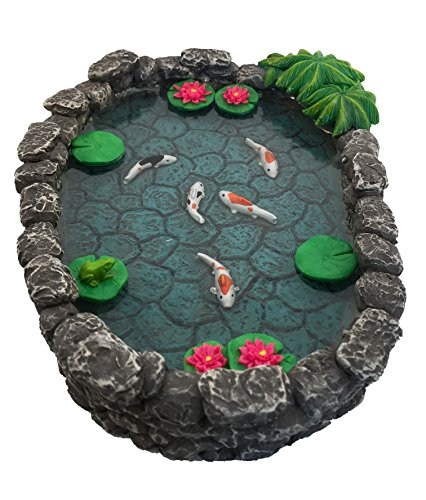 KOI Miniature Pond - Koi Pond for a Fairy Garden. A Miniature Pond for a Miniature Fairy Garden and Enchanted Garden Accessories by GlitZGlam