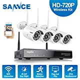 Wireless Security Camera System, SANNCE 1080P 4CH NVR and 4 pcs 720P IP66 Weatherproof Surveillance Cameras,Indoor/Outdoor with 100FT Night Vision, NO HDD Included
