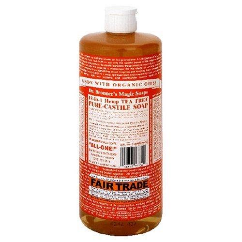 Dr. Bronner's Magic Soaps Pure-Castile Soap, 18-in-1 Hemp Tea Tree, 32-Ounce Bottles (Pack of 2) -
