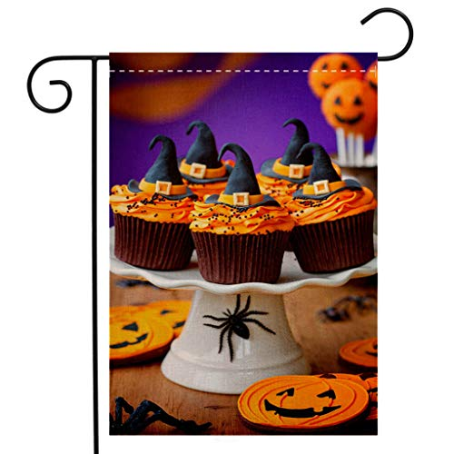 BEIVIVI Custom Double Sided Seasonal Garden Flag A Plate of Halloween Cupcakes with Orange Frosting Garden Flag Waterproof for Party Holiday Home Garden Decor]()
