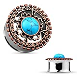 PAIR of Bronze Plated Shield with Turquoise Center Double Flare Steel Tunnels Plugs (1'' (25mm) )