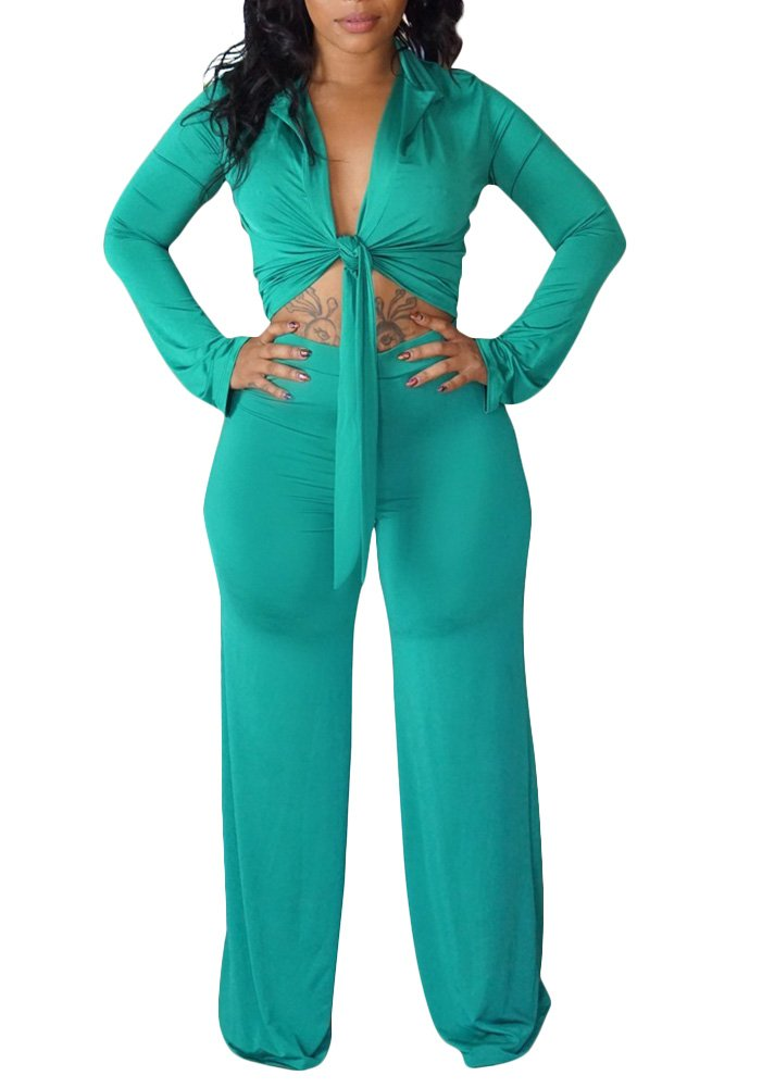 Metup Women Sexy V Neck Flare Sleeve Front Tie Crop Top High Waist Wide Leg Palazzo Pants 2 Piece Jumpsuits Set Green M