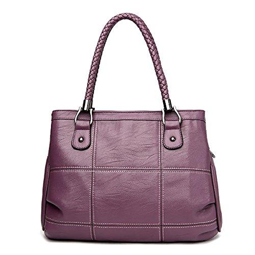 Handbag Coolives Braided Purple Strap Handle Long Shoulder Women Black BBAx4