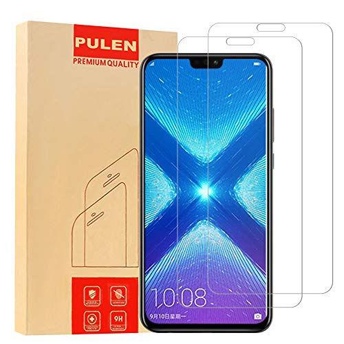 [2-Pack] Pulen for Huawei Honor 8X Screen Protector Tempered Glass,HD Anti-Fingerprints Anti-Scratch Bubble Free 9H Hardness Tempered Glass for Huawei Honor 8X,6.5 Inch
