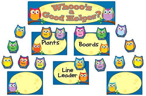 Colorful Owls Job Assignment Mini Bulletin Board Set