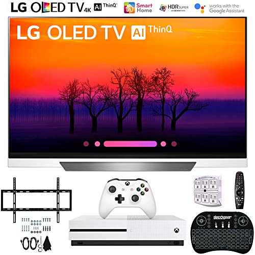 LG OLED55E8PUA 55″ Class E8 OLED 4K HDR AI Smart TV with Xbox One S 1TB, 2.4GHz Wireless Backlit Keyboard, Slim Wall Mount Kit Ultimate Bundle and 750 Joule Surge Protector (2018 Model)