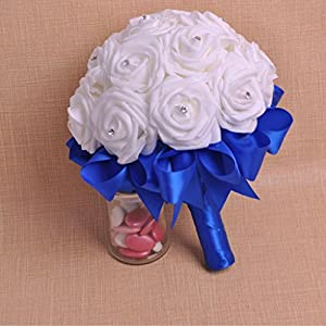 ZTTONE Wedding Bouquet, Crystal Roses Bridesmaid Wedding Bouquet Bridal Artificial Silk Flowers (Blue) 2