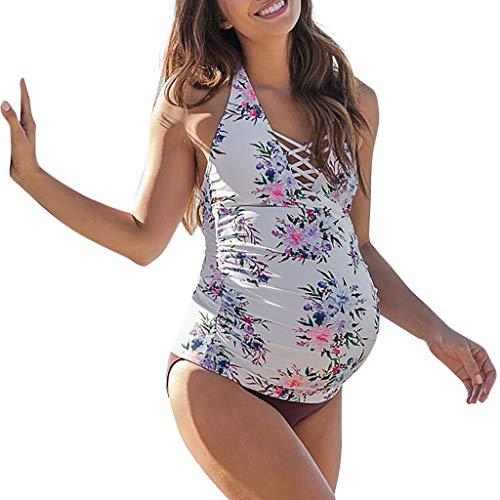 Women's Maternity Two Piece Floral Print Tankini Set,Pregnancy Halter Crisscross Straps Swimsuit Swimwear (M, White)