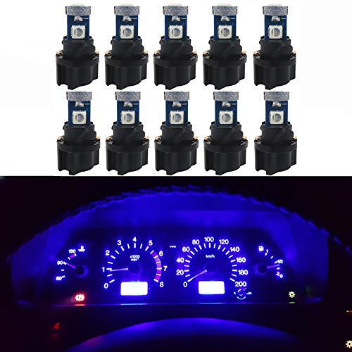 (WLJH 10 Pack Blue Canbus T5 Led Bulb 2721 37 74 Wedge Lamp PC74 Twist Sockets Dash Dashboard Lights Instrument Panel Cluster Leds Replacement)