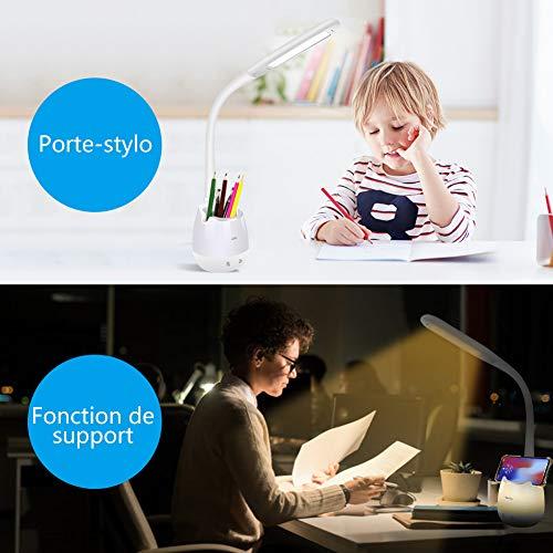 Lampe de Bureau Dimmable, Lampe de Chevet avec Porte-Crayon, Bouton Tactile 5W 2000mAh Rechargeable, 9 Sélection d\'éclairage et Veilleuse Multicolore, Confortable pour les Yeux