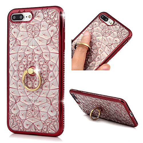 (iPhone 7 Plus, iPhone 8 Plus Case, MOLLYCOOCLE Bling Glitter Soft TPU Bumper Crystal Rhinestone 360 Degree Rotary Moving Finger Ring Stand Cover Case for iPhone 7/8 Plus, Red)