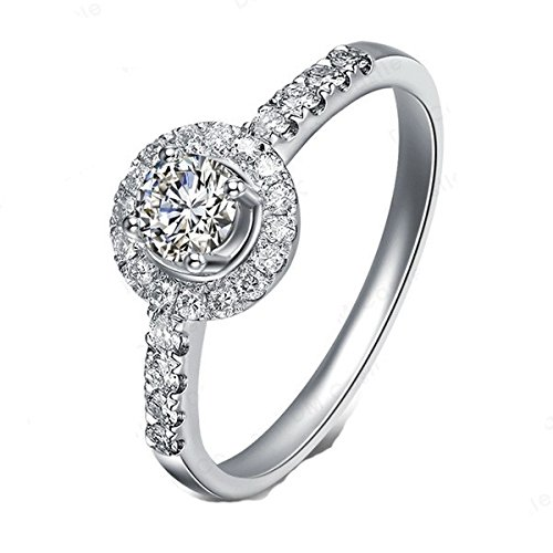 1,67 quilates anillo de compromiso con Halo barato catapófisis diamante en 18 K oro