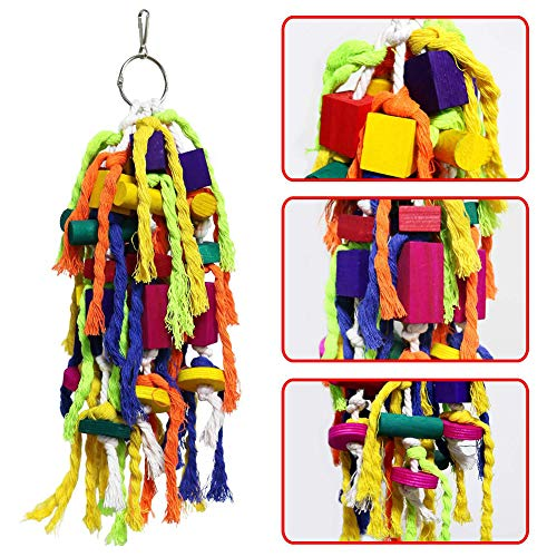 BLagenertJ Parrot Hanging Cage Cotton Rope Blocks Toys Hanging Bite Interactive Chew Toy for Pet Birds Supplies Random Color from BLagenertJ