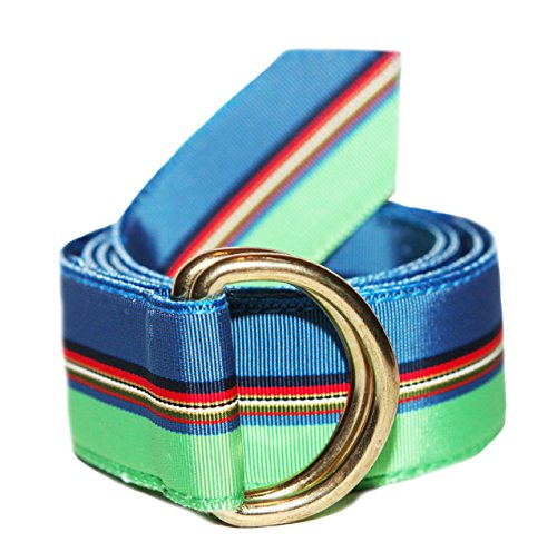 F.H. Wadsworth Grosgrain Ribbon D-Ring Belt (Small, Blue Fish)