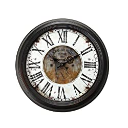 Adeco Vintage-Inspired Brown Round Wall Hanging Clock Hotel De Ville Key Detail Home Decor