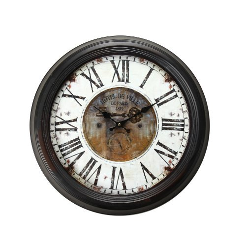 Ville Hotel - Adeco Vintage-Inspired Brown Round Wall Hanging Clock