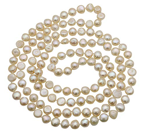 (50 inches Pink Freshwater Cultured Nugget Pearl Pearl Necklace Jewelry for Women)