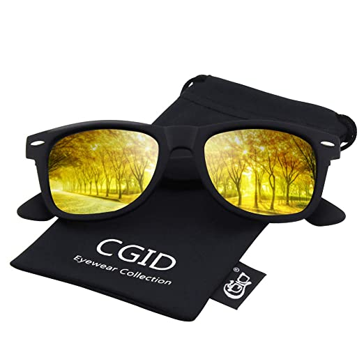 9db69c2aca04 CGID Classic Eyewear 80's Retro Large Horn Rimmed Style UV400 Polarized  Sunglasses,Black Gold