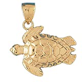 14k Yellow Gold Turtles Pendant (27 x 31 mm)