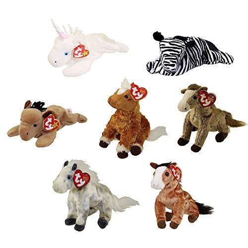 TY Beanie Babies - HORSES, ZEBRA & UNICORN (Set of 7) (Derby, Mystic, Durango, Ziggy +3) (5.5-8 in)