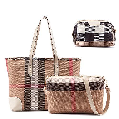 Handle Elbow (Celaine Womens Handbags Trendy Plaid Faux Leather Elbow Shoulder Bag - Purse, Storage Bag, Tote, 3-in-1 Set, white)