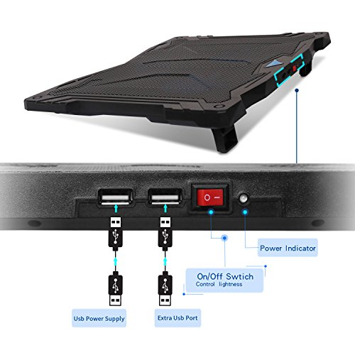 Tenswall 13''-17'' Laptop Cooling Pad with 3 Ultra-quiet Blue LED Fans, Slim Portable USB Powered Chill Mat Cooler Stand (Black) by Tenswall (Image #3)