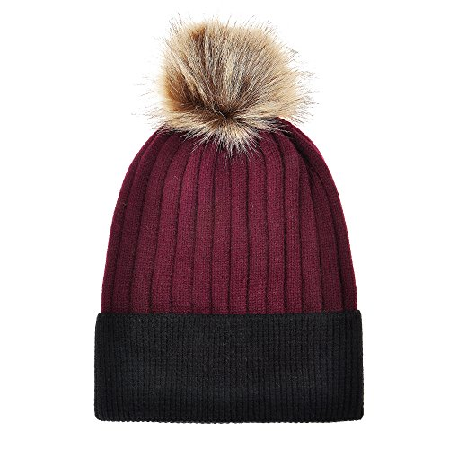 (ZLYC Women's Winter Warm Two-Tone Ribbed Knit Cuff Beanie Hat with Faux Fur Pom Pom, Burgundy, with Black Cuff)