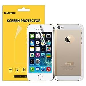 3 x Ganvol Film Protector de Pantalla Membrana para Apple iPhone 5 5S [Anverso y Reverso] [Alta Transparencia Ultra HD] [Resistente a los Arañazos] [Superficie Anti Huellas] [Anti Amarilleo] [Larga Duración]