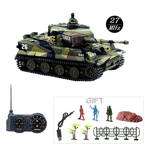 Fun-Here Mini RC Tank with USB Charger Cable Remote Control Panzer Tank 1:72 German Tiger I with Sound, Rotating Turret and Recoil Action When Cannon Artillery Shoots 27MHz(Green) ()