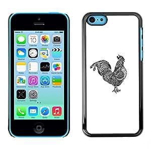SoulCase / Apple Iphone 5C / Tribal Tattoo Cock Totem Illustration / Delgado Negro Plástico caso cubierta Shell Armor Funda Case Cover